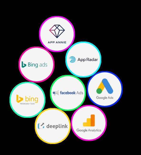 App Annie, Bing ads, App Radar, Bing Webmaster Tools, Facebook Ads, Google Ads, Deeplink, Google Analytics, Digital Marketing Technology