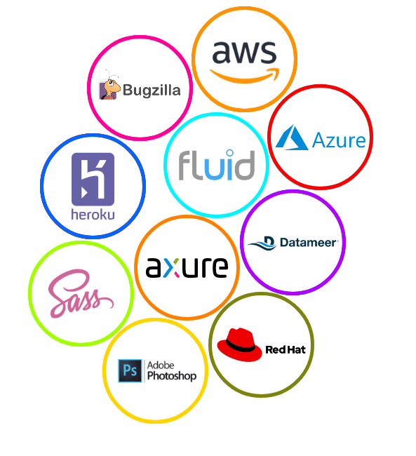 Amazon Web Services, AWS, Azure, Fluid, Datameer, Red Hat, Axure, Adobe Photoshop, Sass, heroku, bugzilla, Enterprise services technology